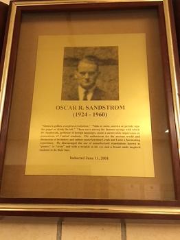Oscar Sanstrom, Faculty HoF