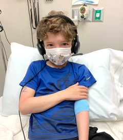 Anthony undergoing tests during a food allergy clinical trial