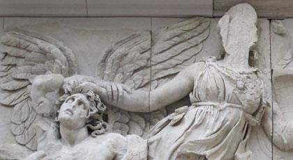 Athena overcomes a pre-Olympian god