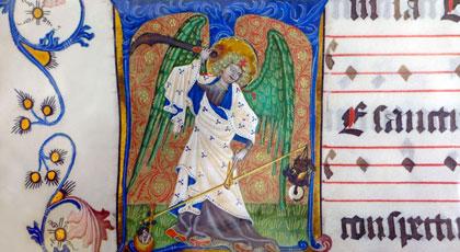 Archangel Michael, illuminated manuscript, Germany
