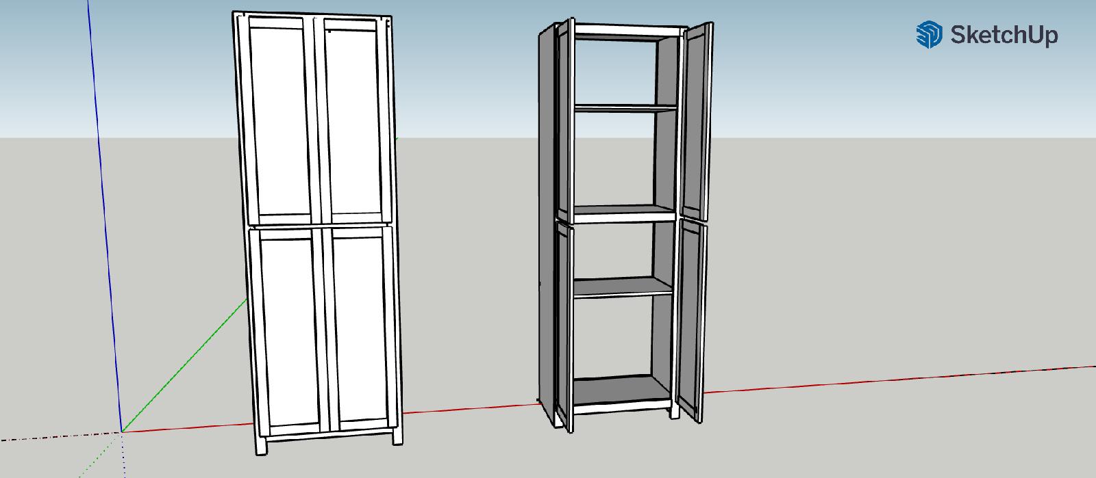 4 door cabinet sketch up