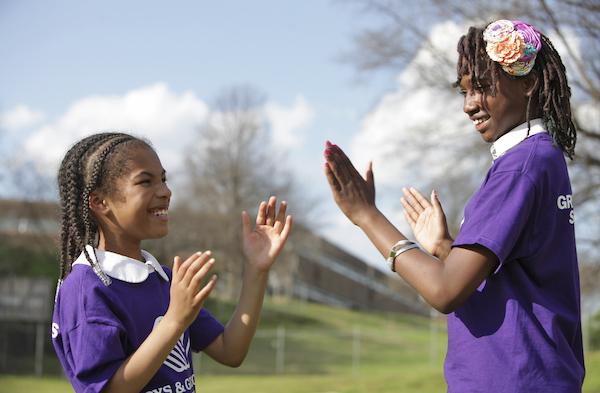 Two girls playing