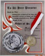 Order of Saint George Silver w/Certificate