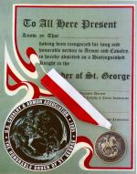 Order of Saint George Black Medallion w/ Certificate