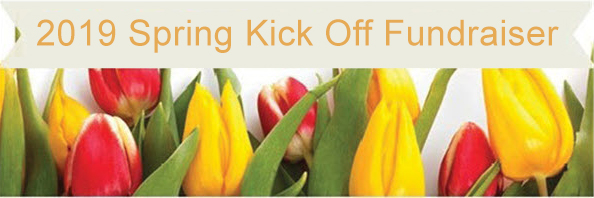 2019 Spring Fundraiser banner with tulips