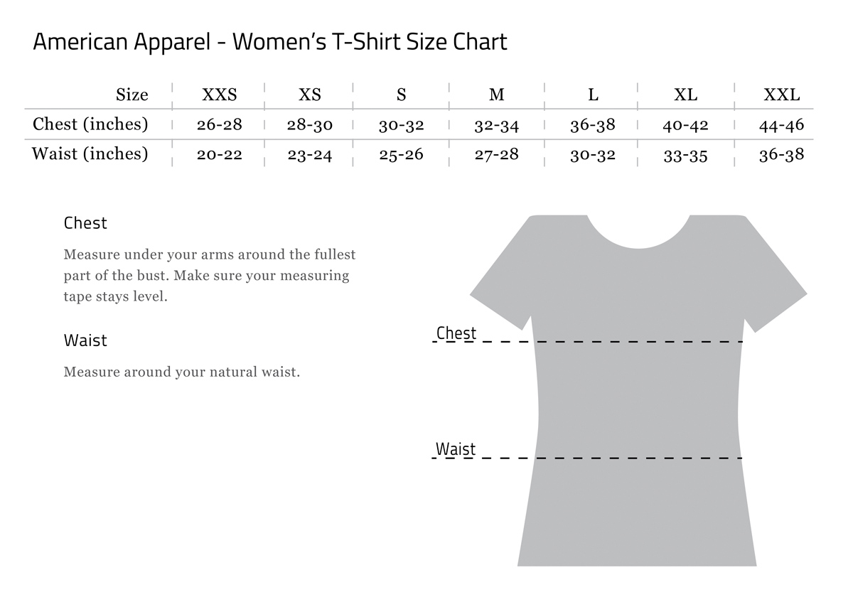 american apparel shirt size guide