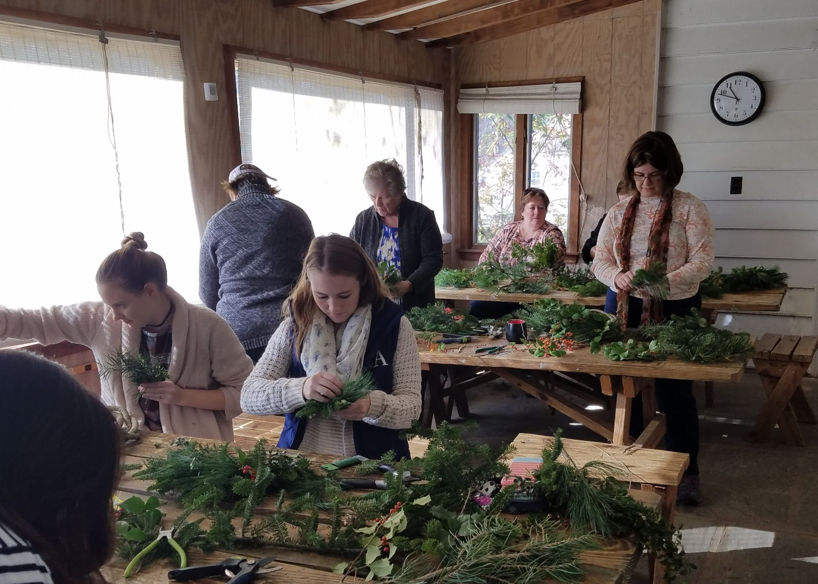 people making wreaths