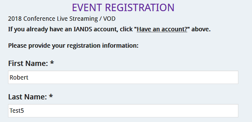 Live Streaming Registration