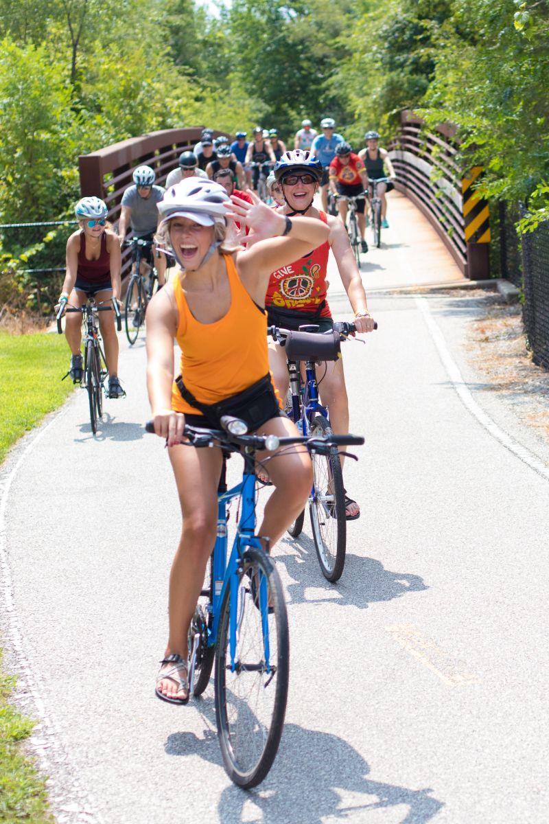 happy bicyclists on Iowa bike trail