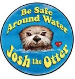 Be Safe Around Water Josh the Otter Large Sticker