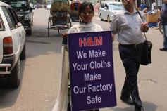 Protest in front of H&M sourcing office in Dhaka on May 3, 2016