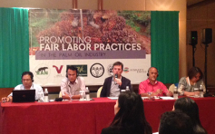 Eric Gottwald speaks on palm oil panel, photo by ILRF