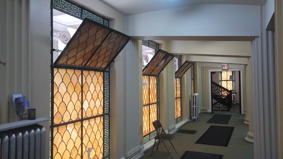 Inside view of the fish scale stained glass