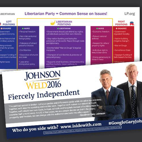 Front and back image of door hanger for Johnson campaign (image)