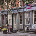 row of buildings at South Street Seaport in New York City