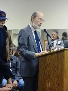Attorney Dennis Grzezinski presents testimony at the Hurley Mining Hearing