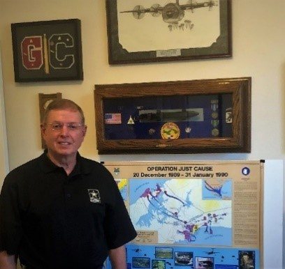 Colonel Steve Bond, US Army Retired, our BYOC&D Program Speaker for October, shows momentos from Operation Just Cause in Panama, including an AK-47 Bayonet captured from Panamanian stocks.