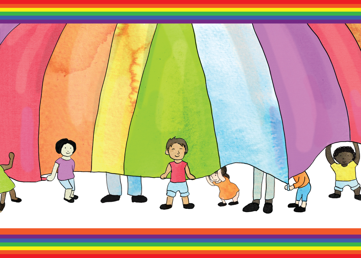 A group of children stand inside a rainbow parachute. Larger feet indicate adults standing outside the parachute.
