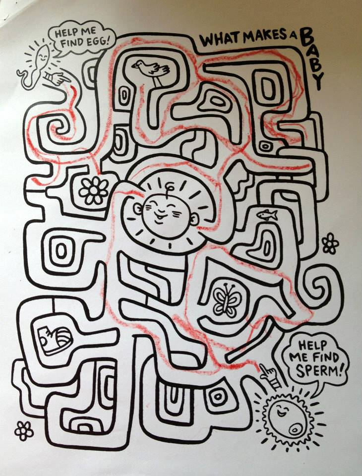 A cartoonish maze is filled in with a crayon. At the beginning of the maze is a sperm at the end is an egg with a baby inside.