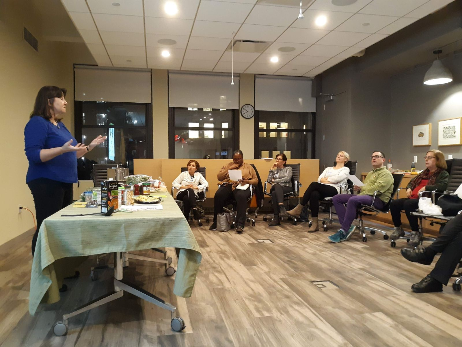 Laurie Courage demonstrates WFPB cooking at December event