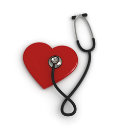 Stethoscope on a red heart image
