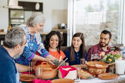 Family gathering around food