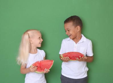 Kids with watermelon