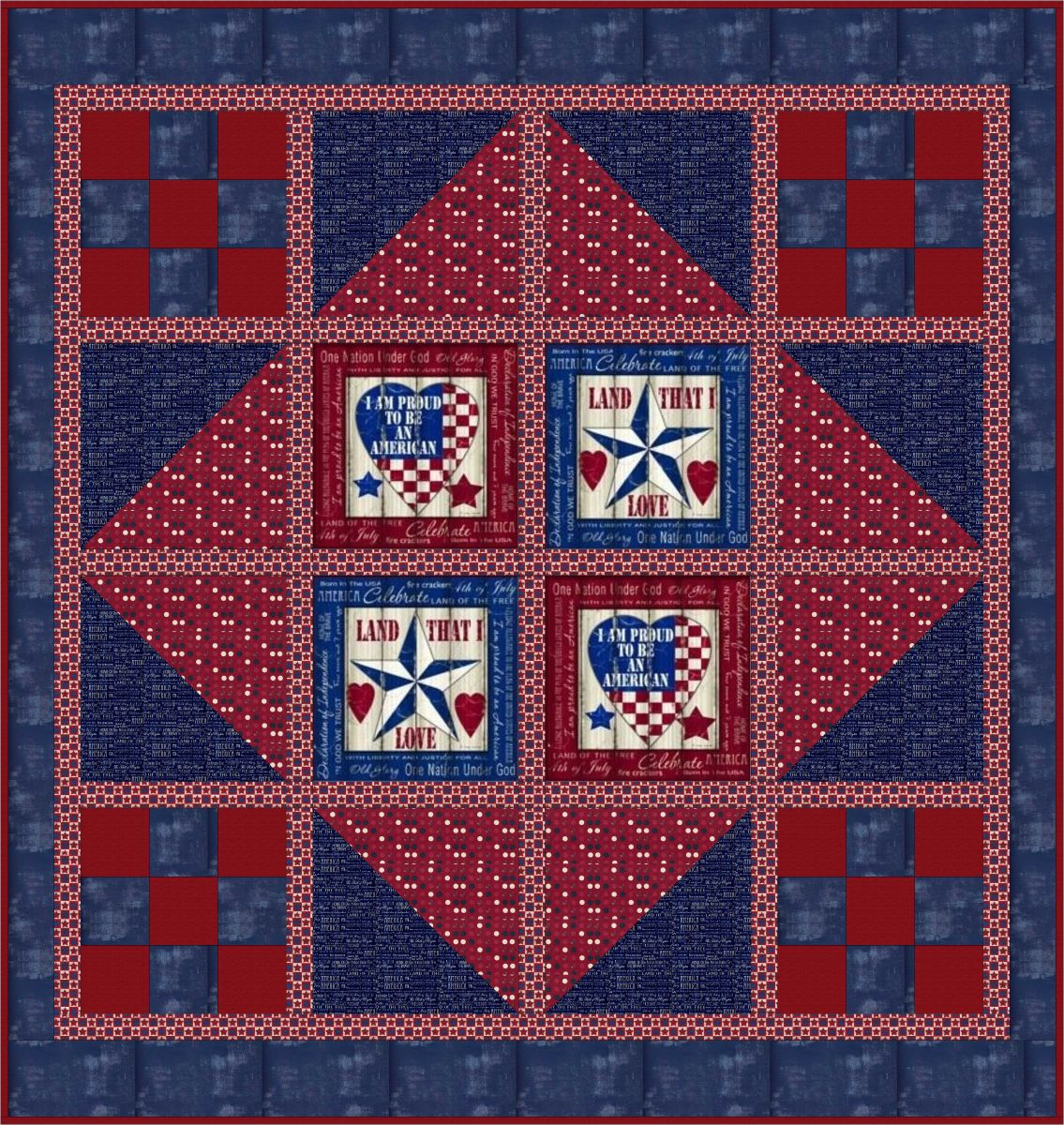 """Proud American"" Free Quilts of Valor Pattern designed by Debbie Chambers from the Quilts of Valor Foundation"