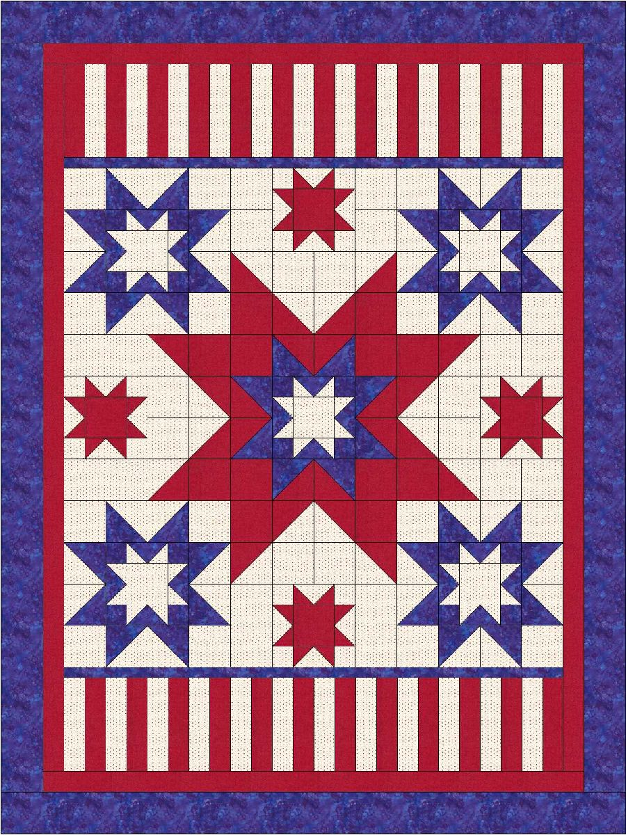 """Ray's All American Stars and Stripes"" Free Quilts of Valor Pattern designed by Lisa Sutherland from the Quilts of Valor Foundation"