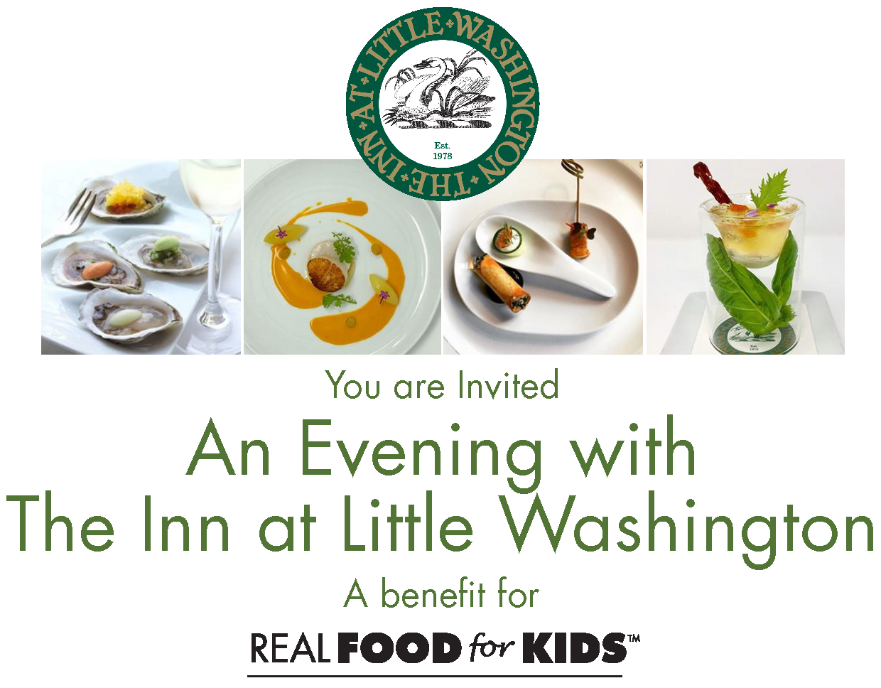 You are Invited to An Evening with The Inn at Little Washington, A benefit for Real Food for Kids