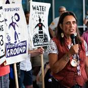Activist Winona LaDuke speaks at a press conference