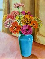 Zinnias in a Blue Vase by Michael F. Graham